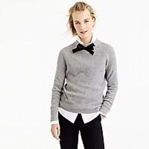 J. Crew Gayle Tie Neck Gray Chunky Sweater Sz L